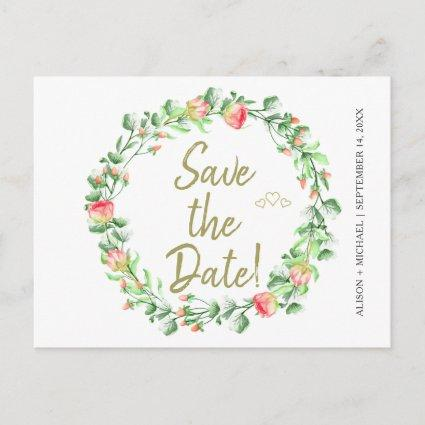 Floral blush sage garden wreath wedding save date announcement