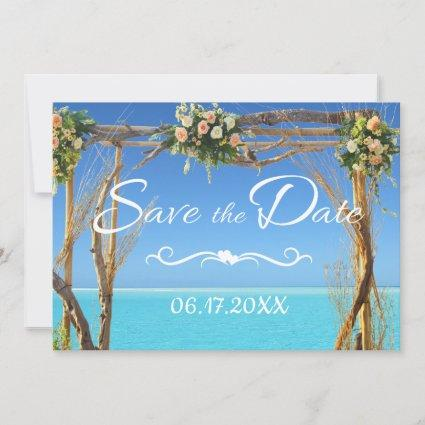 Floral Boho Summer Beach Wedding Save the Date