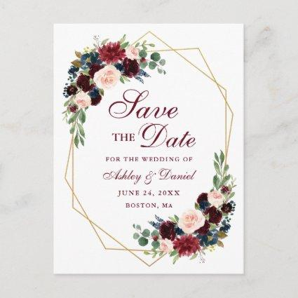 Floral Burgundy Blue Gold Frame Save the Date Announcement