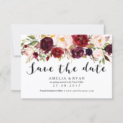 Floral Burgundy Marsala Save the Date Card
