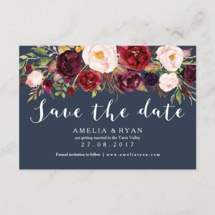 Floral Burgundy Navy Save the Date Card