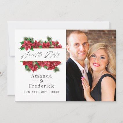 Floral Christmas Geometric Wedding Save The Date