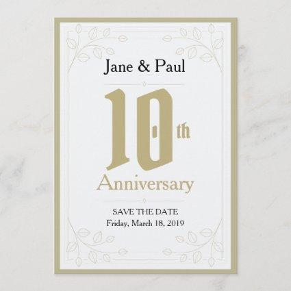 Floral Design 10th Anniversary Invite