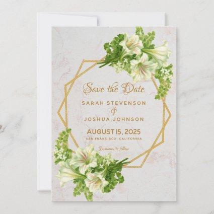 Floral Geometric Marble Gold and Lilies Wedding Save The Date