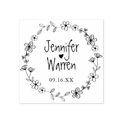 Floral Hand Drawn Wreath Personalized Wedding Rubber Stamp