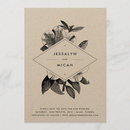 Floral Kraft Save the Date Card