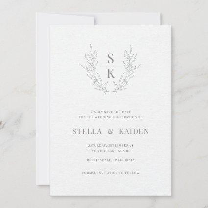 Floral Leaves Drawing Modern Wedding Save The Date