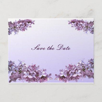 Floral Lilac Flowers Save the Date Announcement