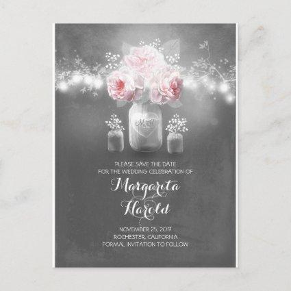 Floral mason jar lights rustic save the date announcement