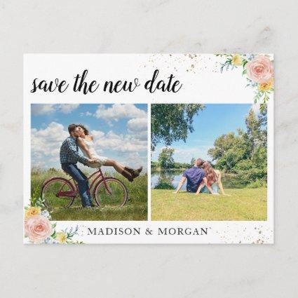 Floral multi Photos save the new date Announcement