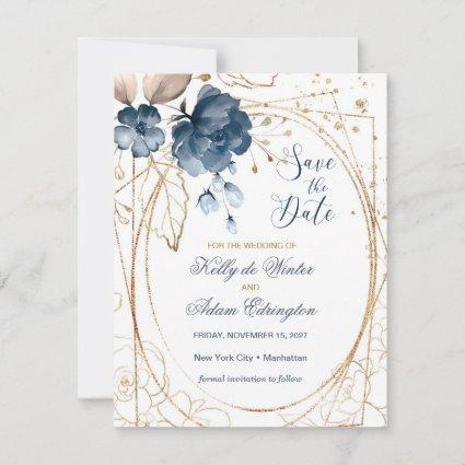 Floral navy blue, gold Save the Date Photo