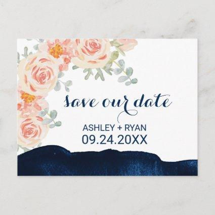 Floral Peach Pink & Navy Watercolor Save the Date Announcement