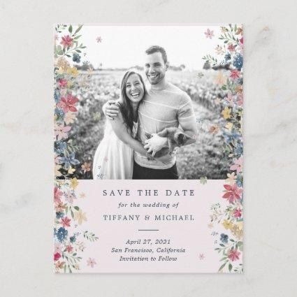Floral Photo Save the Date Announcement