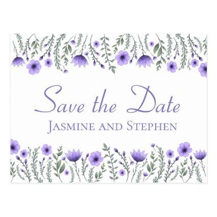 Floral Purple Save the Date Wedding Engagement