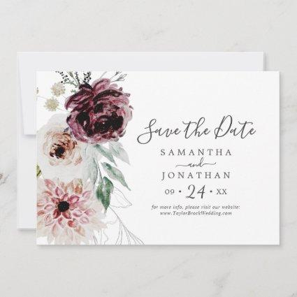 Floral Romance Horizontal Save The Date
