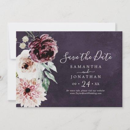 Floral Romance | Plum Horizontal Save The Date