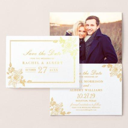 Floral Rose Gold Foil Wedding Save the Date Foil Cards