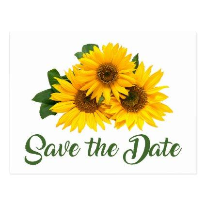 Floral Save The Date Yellow Sunflower Engagement