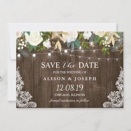 Floral String Lights Rustic Country Save the Date
