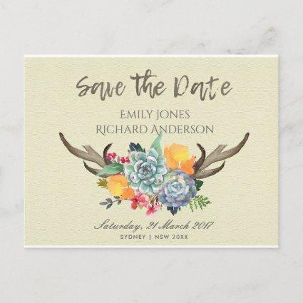 FLORAL SUCCULENT ANTLER BOHEMIAN SAVE THE DATE ANNOUNCEMENT