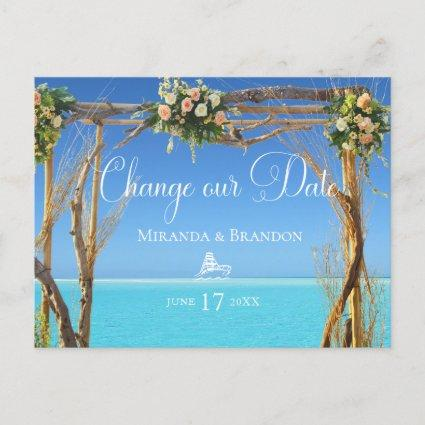 Floral Summer Beach Wedding Arch Change our Date Announcement