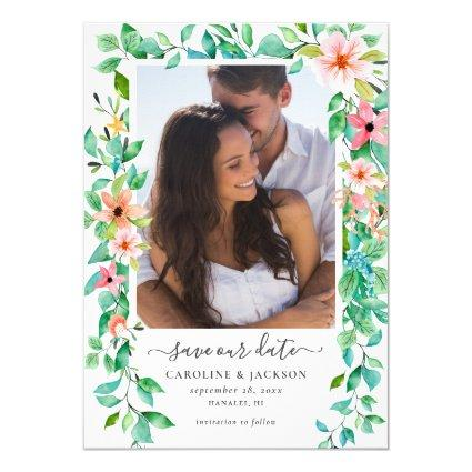 Floral Tropical Beach Photo Save the Date Invitation