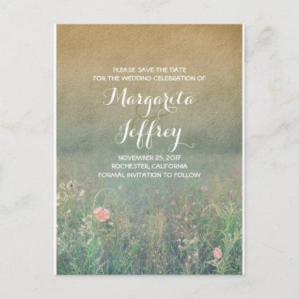 floral vintage summer meadow save the date announcement