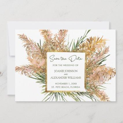 Floral Watercolor Pampas Grass Wedding Save The Date