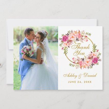 Floral Wreath Pink Wedding Photo Thank You Card