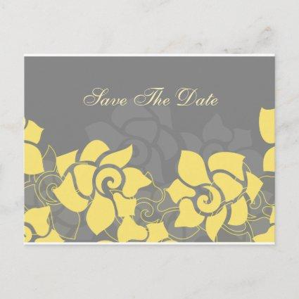 floral yellow gray Save the Date Announcement