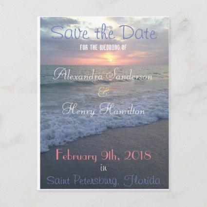 Florida Beach Sunset Save the Date Announcement