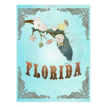 Florida Map With Lovely Birds Cards