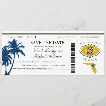 Florida Save the Date Boarding Pass