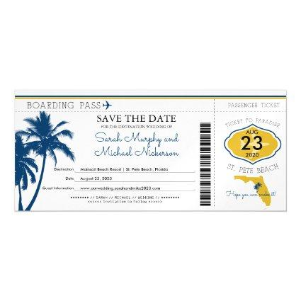 Florida Save the Date Boarding Pass Magnetic Invitation