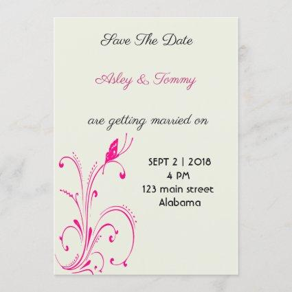 Flower Butterfly Save The Date