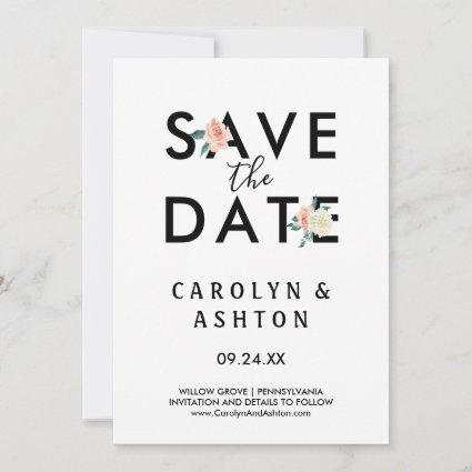 Flower Lettering | Blush Save the Date Card