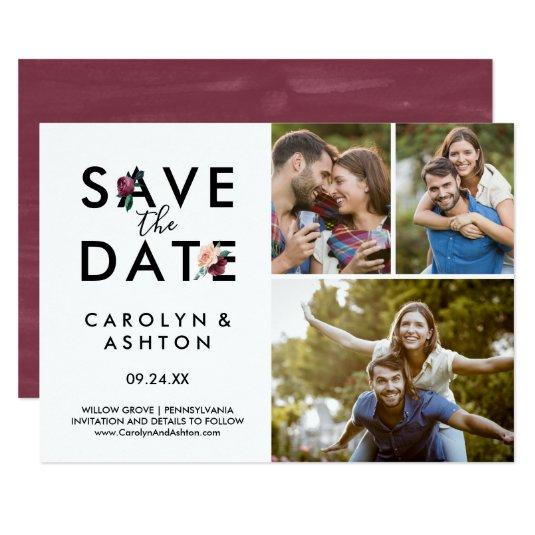 Flower Lettering | Maroon 3 Photo Save the Date Card