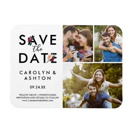 Flower Lettering | Maroon 3 Photo Save the Date Magnet