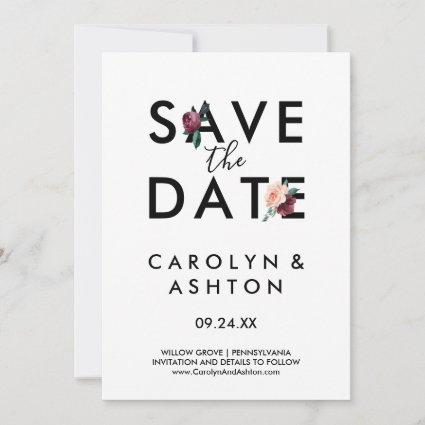 Flower Lettering | Maroon Save the Date Card