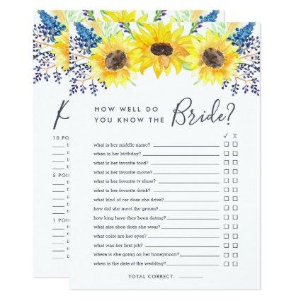 Flowerfields Double-Sided Bridal Shower Game Invitation