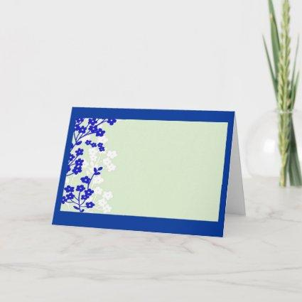 flowers blue white green card
