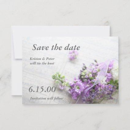 flowers in lavenderwith music save the date card