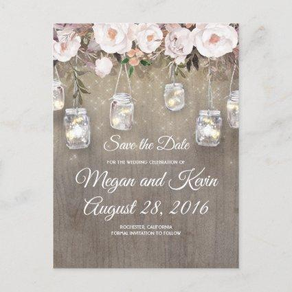 Flowers Mason Jar Lights Rustic Save the Date Announcement