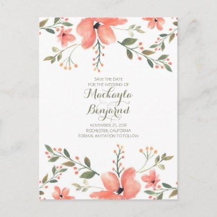 Flowers Watercolor Elegant Save the Date Announcements Cards