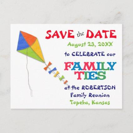 Flying Kite Family Reunion Save the Date Announcements Cards