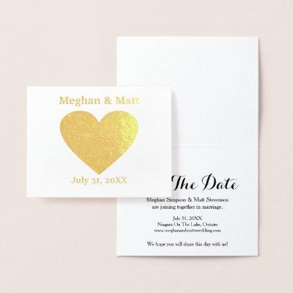 Foil Heart Save the Date Cards