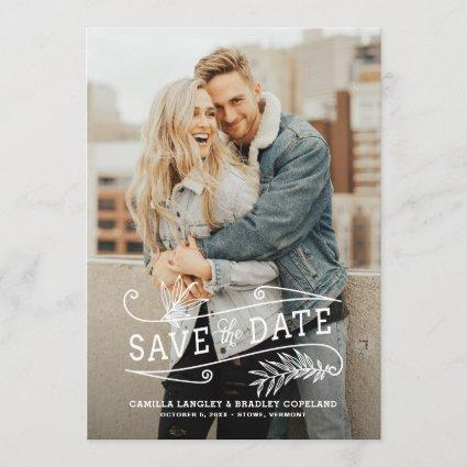 Foliage Overlay Vertical Photo Save the Date