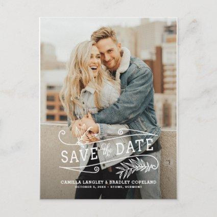 Foliage Overlay Vertical Photo Save the Date Announcements Cards