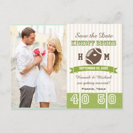 Football Themed Wedding Save the Date Announcement