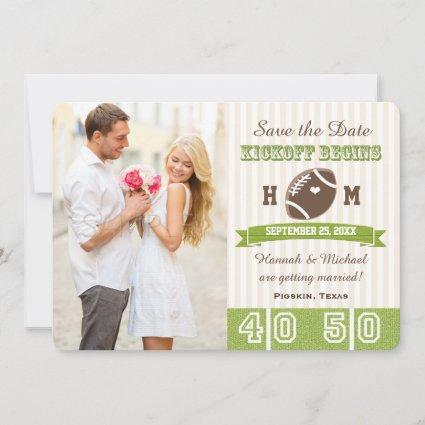 FOOTBALL WEDDING SAVE THE DATE CARD